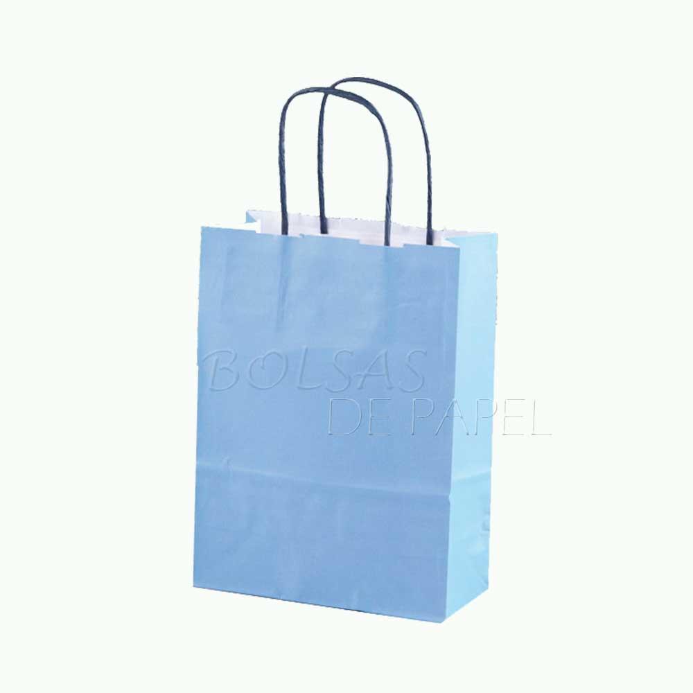 bolsa de papel azul claro