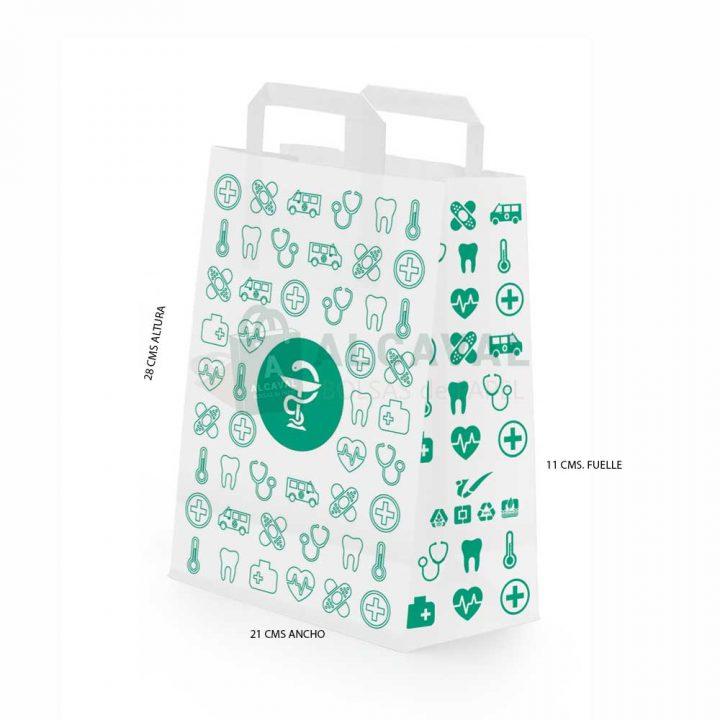 bolsas de papel asa plana blanca con motivos de farmacia