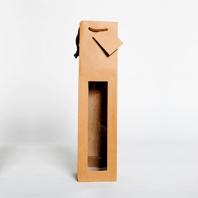 Bolsa de papel para 1 botella grande con ventana transparente